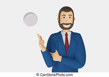 Cartoon character, businessman in suit with pointing finger at an medical pill. 3d rendering
