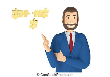 Cartoon character, businessman in suit with pointing finger at an puzzle. 3d rendering puzzle