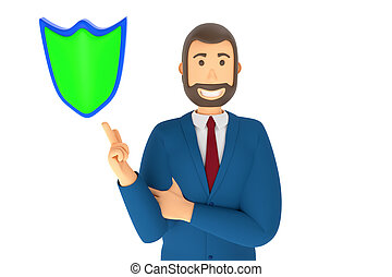 Cartoon character, businessman in suit with pointing finger at an shield. 3d rendering