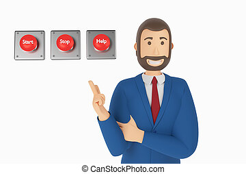 Cartoon character, businessman in suit with pointing finger at button start, stop, help. 3d rendering