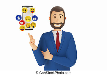 Cartoon character, businessman in suit with pointing finger at mobile phone. 3d rendering