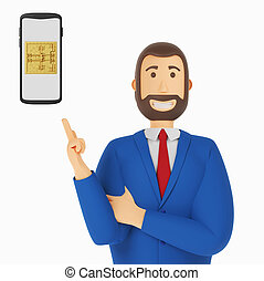 Cartoon character, businessman in suit with pointing finger at mobile phone vault door. 3d rendering
