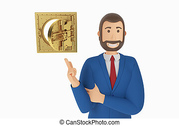 Cartoon character, businessman in suit with pointing finger at vault door. 3d rendering