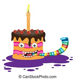 Cartoon character cake with a candle and a pipe on a white isolated background. Vector image