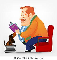 Cartoon Character Cheerful Chubby Men. Reading. Vector Illustration. EPS 10.