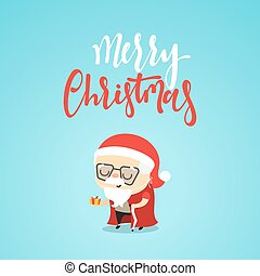 Cartoon character christmas cute Grandpa with a gift in hand