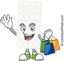 cartoon character concept of rich pills with shopping bags. ...