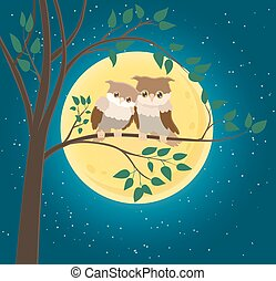 cartoon character couple of owls sitting on a twig and yellow moon and stars blue night background