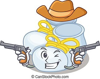 Cartoon character cowboy of baby boy boots with guns
