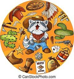 Cartoon character cowboy raccoon set of classic western items round design print