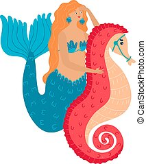 Cartoon character cute fantasy mermaid riding with red seahorse under the sea isolated on white vector, illustration.