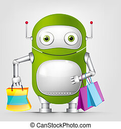 Cute Robot - Cartoon Character Cute Robot Isolated on Grey...