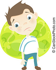 Cartoon Character Cute Teenager Isolated on White Background. Sad. Vector EPS 10.