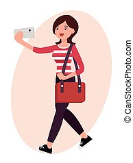 Cartoon character design female take selfie with smart phone