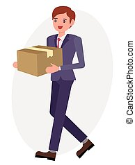 Cartoon character design male man carry paper box