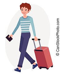 Cartoon character design male man travel with luggage passport