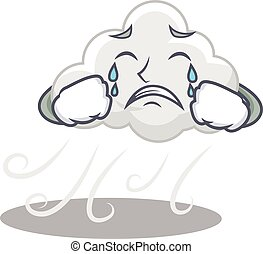 Cartoon character design of cloudy windy with a crying face