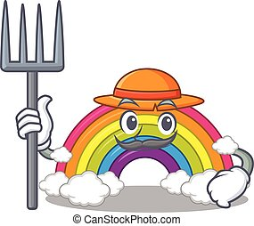 Cartoon character design of rainbow as a Farmer with hat and pitchfork