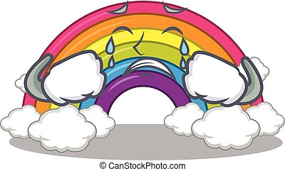 Cartoon character design of rainbow with a crying face