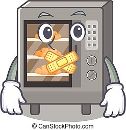 cartoon character design oven cake making a silent gesture