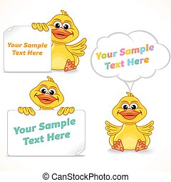 Cartoon Character Duck Showing Blank Banners