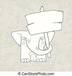 Cartoon Character Elephant with wooden poster Isolated on Plain Background. Vector.