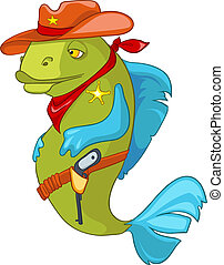 Cartoon Character Fish Sheriff