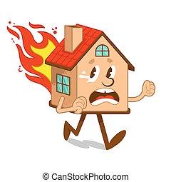 Cartoon character flame house