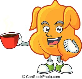 Cartoon character fried chicken with mascot drinking in cup