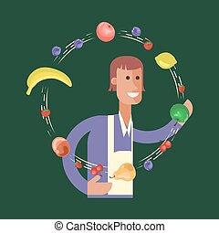 Cartoon character fruit seller