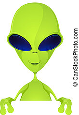Cartoon Character Funny Alien Isolated on Grey Gradient Background. Look Out. Vector EPS 10.