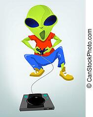 Funny Alien - Cartoon Character Funny Alien. Vector...