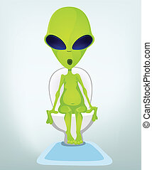Funny Alien - Cartoon Character Funny Alien. Vector...