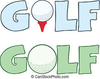 Golf Ball Logo Sign Collection - Cartoon Character Golf Ball...