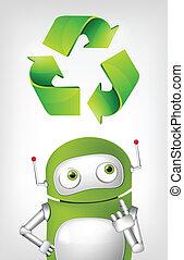 Cartoon Character Green Robot. Concept Illustration. Vector EPS 10.