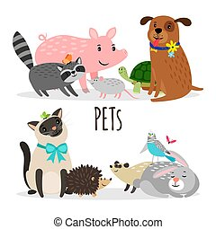Cartoon character groups of vector pets isolated on white background