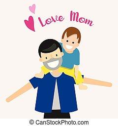 Cartoon character happy family love mom