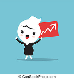 Business on the rise - Cartoon character holding Chart with...