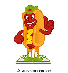 Cartoon character hot dog