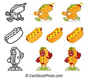 Cartoon character hotdog set