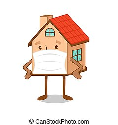 Cartoon character house in medical mask