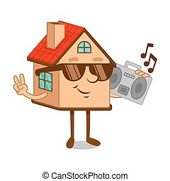 Cartoon character house with boombox tape recorder