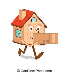 Cartoon character house with box