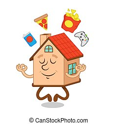 Cartoon character house with food around