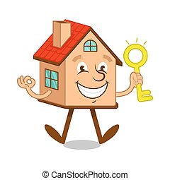 Cartoon character house with gold key