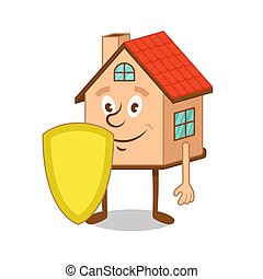 Cartoon character house with gold shield