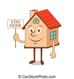 Cartoon character house with message stay home!