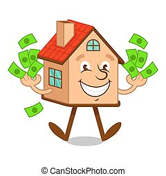 Cartoon character house with money