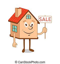 Cartoon character house with sale sign