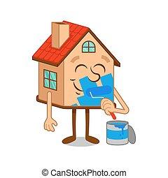 Cartoon character house work